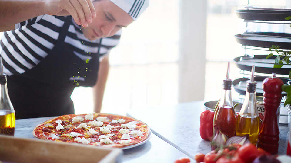 Pizza Express offer an Italian menu near Olympia London