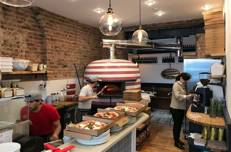 Zia Lucia has a wood-fire oven for it's pizzas near Olympia London