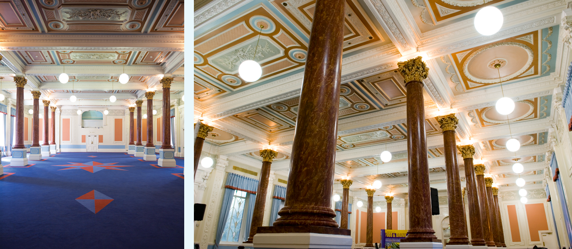 The Pillar Hall venue at Olympia London has period features and beautiful decor.