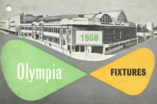 Cover of an event listing leaflet with events, exhibitions and conferences at Olympia, London.