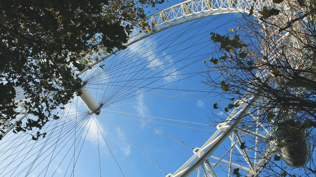 The London Eye is a giant Ferris wheel near Olympia London