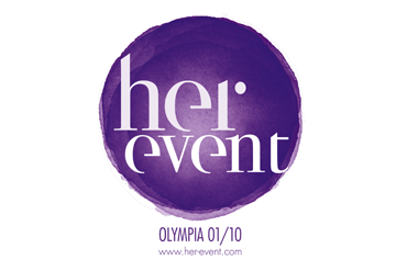 The logo for Her Event, taking place at Olympia Conference Centre