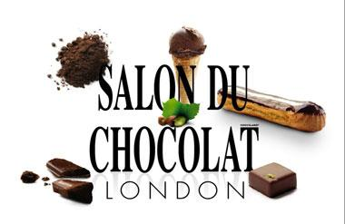The logo for Salon du Chocolat which takes place at Olympia National event and exhibition venue in central London