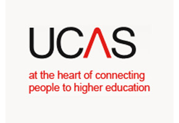 Logo of UCAS Higher Education Convention, taking place at Olympia National exhibition venue in London.