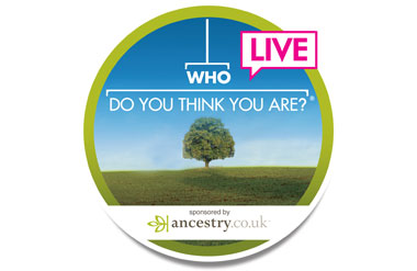 Logo of Who Do You Think You Are Live that's on at Olympia National exhibition venue in London.