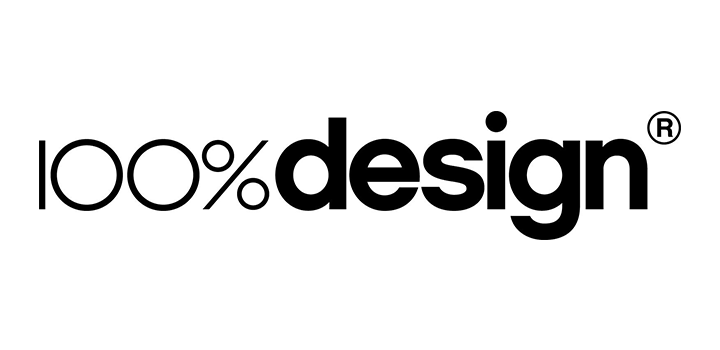The logo for 100% Design, taking place at Olympia London