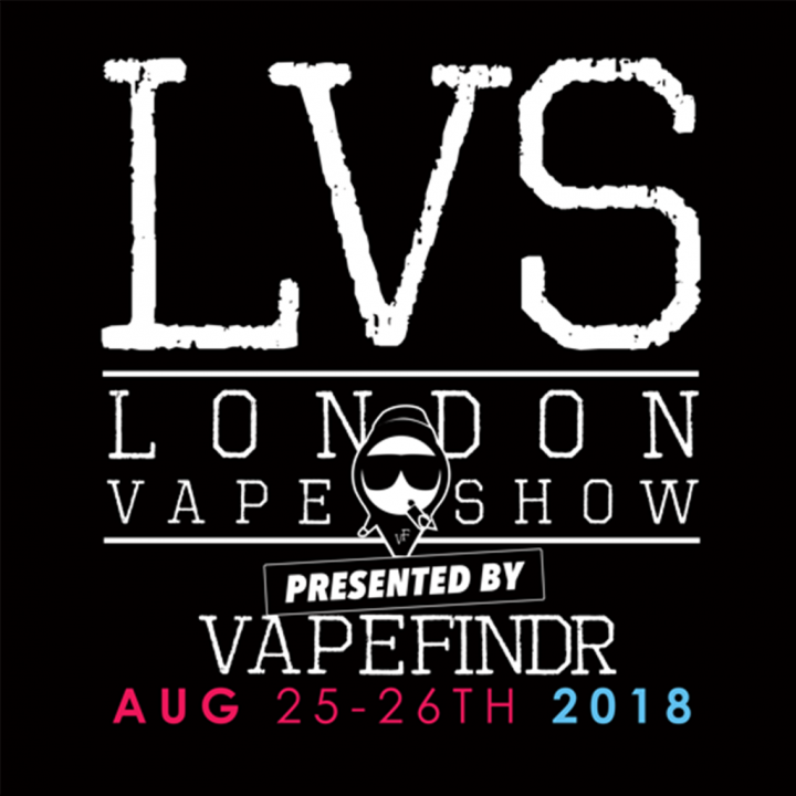 The logo for London Vape Show, taking place at Olympia London